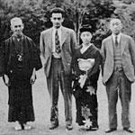 Homer Sarasohn, 2ndfrom left, with Seigi Tanaka, his daughter Michiko, and Konosuke Matsushita, founder of Matsushita Electric Company (Panasonic); Tokyo, June 1947.
